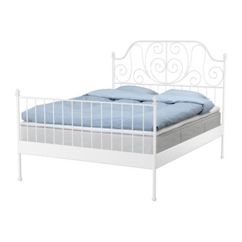 Leirvik bed frame with slatted bed base ikea space under for Iron bed with storage