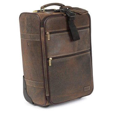 """Check out this item at One Kings Lane! 22"""" Leather Intl Carry-On, Brown"""