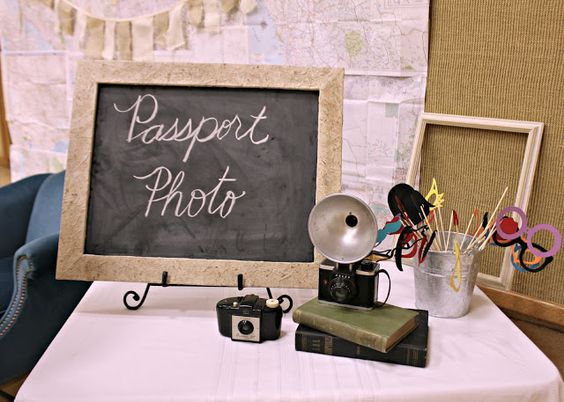Travel theme party: passport photo booth