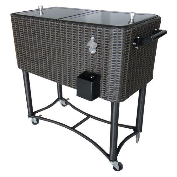 80 Qt. Wicker Patio Rolling Cooler