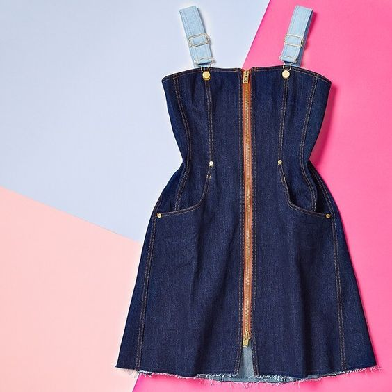 Update your look for spring with this playful denim dungaree dress on site now (Use code: 246.603) #STYLEBOP   #NatashaZinko #denim #dungarees #flatlay #instastyle by stylebop