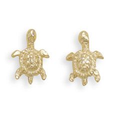 Gold Plated Turtle Stud Earrings