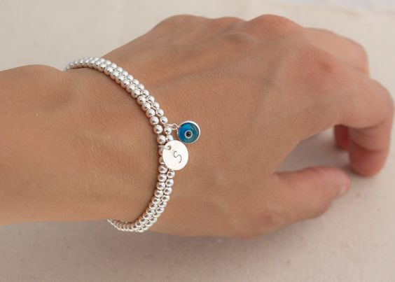 Sterling Silver Beaded Evil Eye / Initial charm by MyGDesigns