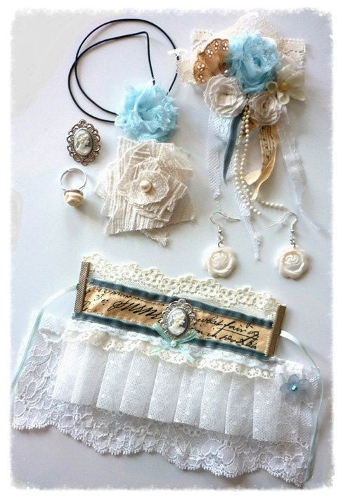 "Bridal Accessories Set "" Something blue "" Shabby Chic Wedding Bride French €50"