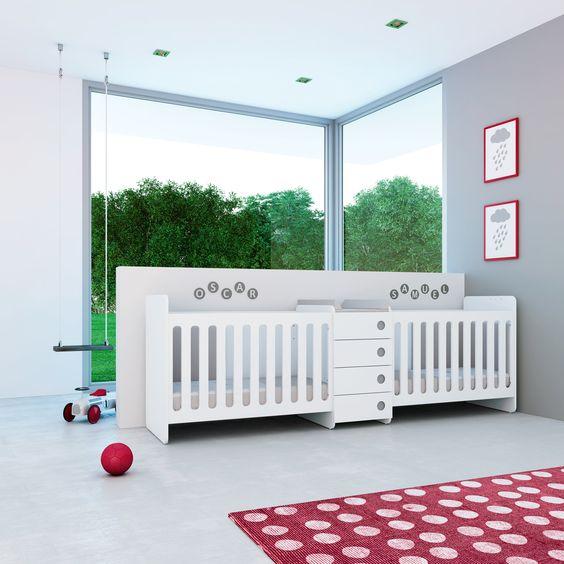 Cuna convertible ORBIT Alondra para bebés gemelos. Además incluye ...