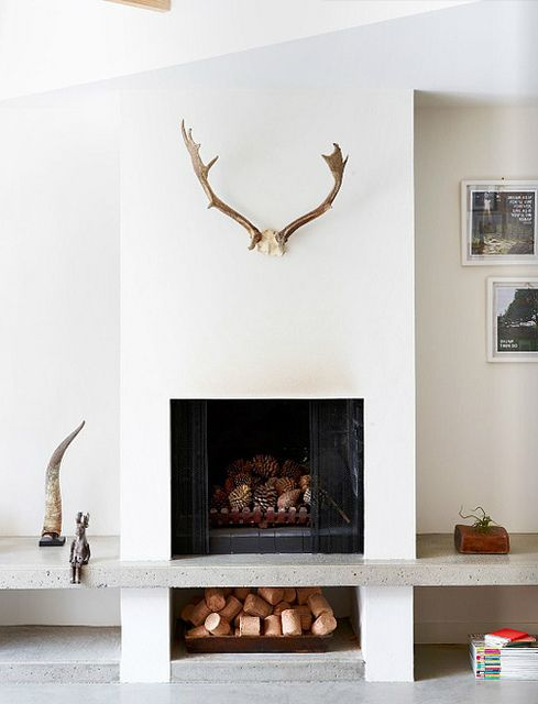 If you can ignore the antlers & horn, the fireplace is a really nice design with wood storage underneath and bench. Also, cute bunny.
