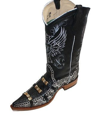 Details about MENS WESTERN COWBOY GENUINE LEATHER/ CROCODILE PRINT ...