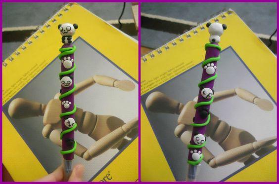 Panda Polymer Clay Pen by ~ResurrectedVampire69 on deviantART