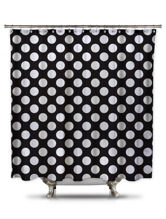 Black and White Polka-Dot Fabric Shower Curtain | Shower curtains ...