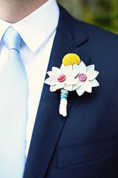Primary Color Map Flower and Billy Ball Button Boutonniere