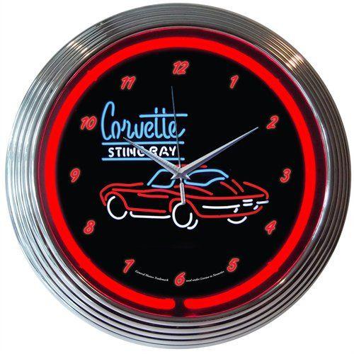 Neonetics 8corv2 Corvette Stingray C2 Neon Clock Jegs Neon Clock Wall Clock Glass Corvette