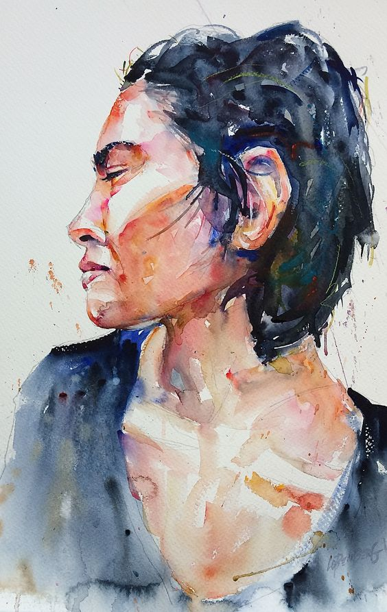 Female study in watercolor