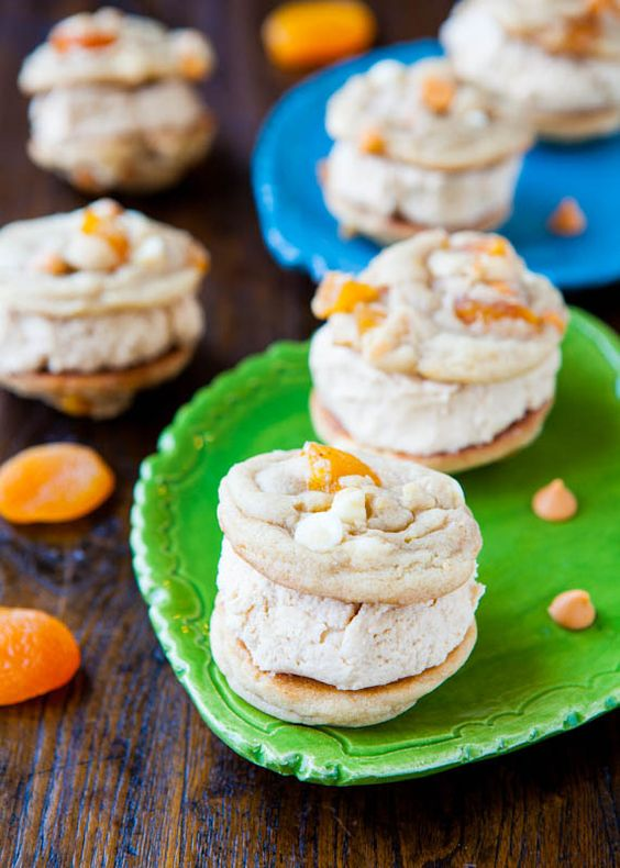 Apricot Butterscotch & White Chocolate Peanut Butter-Filled Sandwich Cookies. Soft 'n chewy, rich, & beyond double-stuffed.