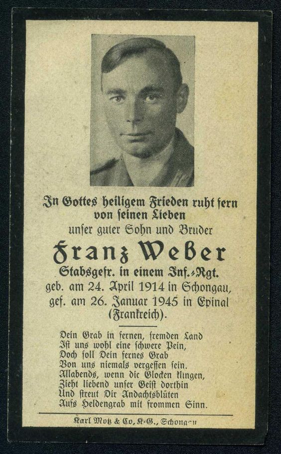 orig WK2 STERBEBILD - DEATH CARD - Ardennen Offensive 1945 - Battle of the Bulge