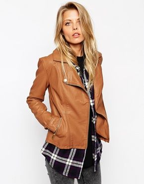 Brown Tan Faux Leather ASOS Ultimate Moto Biker Jacket @ ASOS $85