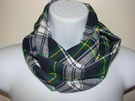 Baby Boy Plaid Infinity Scarf green yellow by OtiliaBoutique