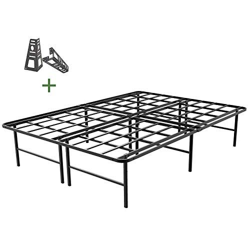 45minst 16 Inch Tall Smartbase Mattress Foundation Platform Bed Frame 3000lbs Heavy Duty Extremely Easy Assembly Box Spring Replacement Quie Platform Bed Frame Bed Frame Steel Bed Frame