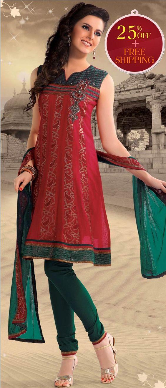 #Red #Cotton Readymade #Churidar Kameez @ $ 83.33