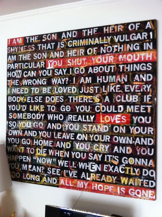 the smiths lyrics turned into art could be really cool. Black Bedroom Furniture Sets. Home Design Ideas