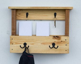 Wood Mail Organizer - Entryway Coat Hooks - Key Rack - Mail and Key Holder - Wall Mail Organizer - Pallet Furniture - Letter Holder