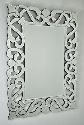 Venetian Scroll Rectangle Silver Vintage Wall Mirror 40 X