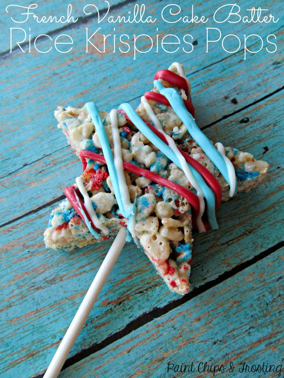 Fourth of July Rice Krispies Pops!  Too easy and waaay too delicious!: Vanilla Cake, Rice Krispies Treats, Krispie Treats, French Vanilla, July 4Th, Krispies Pops, Cake Mix, July Treat, Pops Paintchipsandfrosting