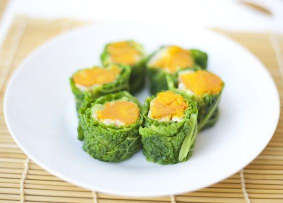 Sushi de col rizada con estofado de verduras dulces