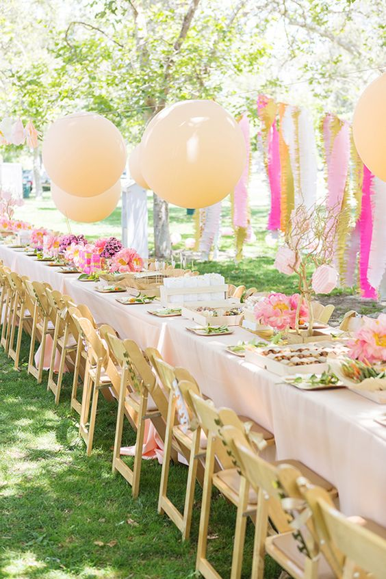 Darling pink peonies picnic birthday party simplified for Outdoor cocktail party decorating ideas