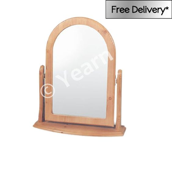 Arched pine dressing table mirror