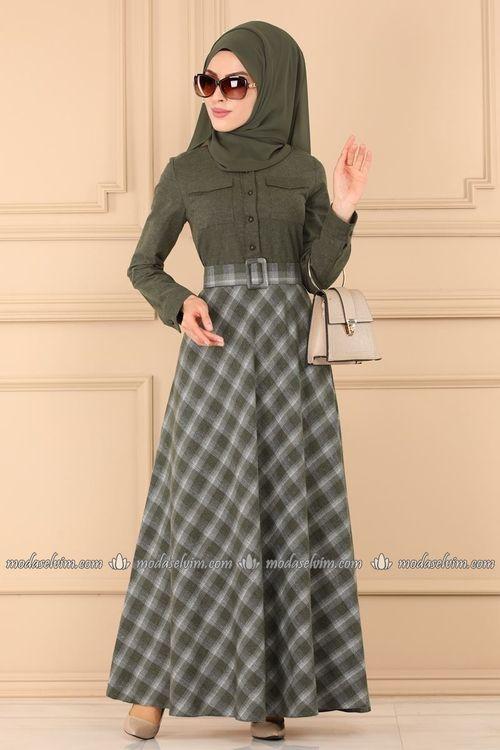 Modaselvim Elbise Ekose Desenli Tesettur Elbise 2245ms212 Haki Musluman Modasi Moda Stilleri Elbise