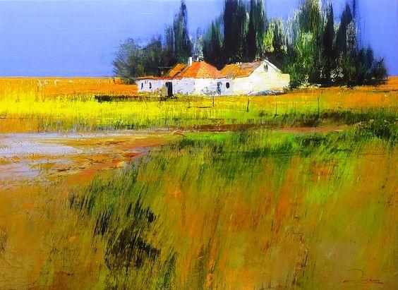 Karoo Houses by DERRIC VAN RENSBURG Acrylic on Canvas 110x80cm
