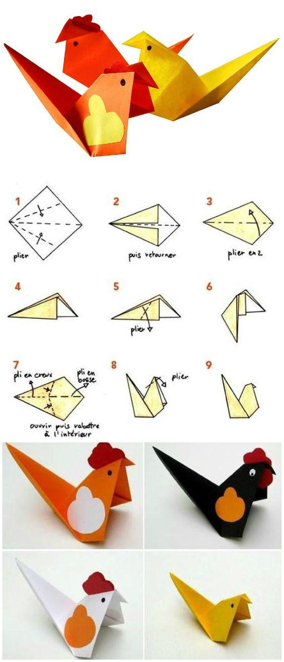 Diy cocottes et poussins en origami id es conseils et tuto origami origam - Origami facile a faire ...