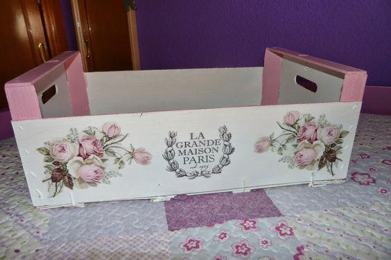 Caja de fruta decorada con decoupage transfer y estarcido - Cajas fruta recicladas ...