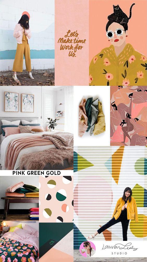 Pink Green Gold Color Trends   Colour Trends   Color Trend Report 2019 SS19 FW19   Color Palettes   Colour Palettes   Fashion Trend Report by Lauren Lesley Studio #laurenlesleystudio #designtribe