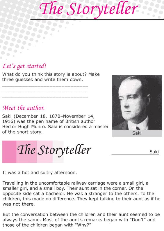 Worksheets Short Stories For Grade Six grade 6 reading lesson 19 short stories the storyteller storyteller