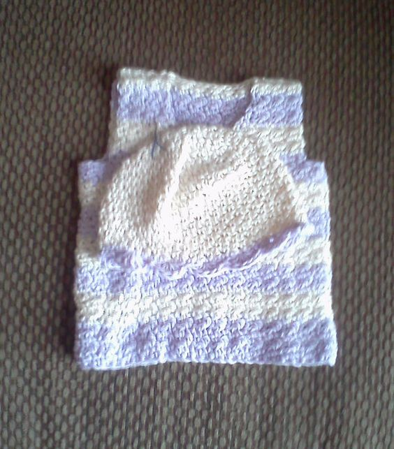 Sweet baby hat and vest set!     Etsy listing at https://www.etsy.com/listing/169067539/purple-and-cream-infant-vest-and-hat-set