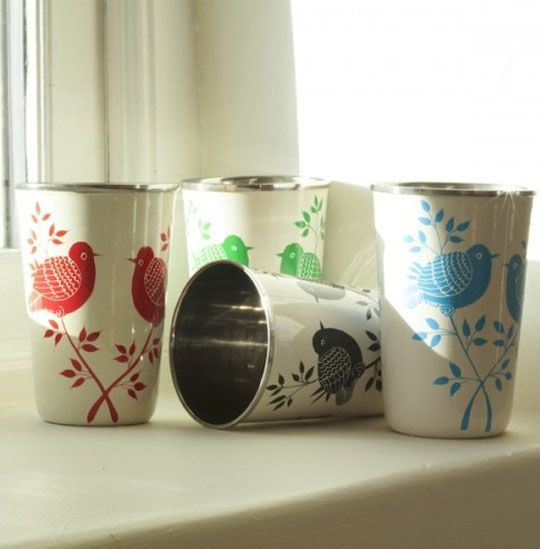 stainless steel cups.  Lolita at green heart