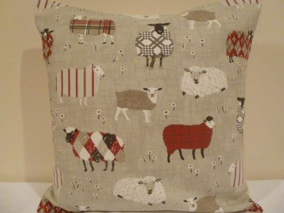 Handmade Cushion Cover 16  cotton French Farmhouse cottage sheep lamb red beige