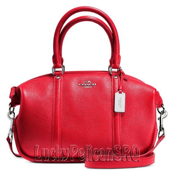 coach satchel bag outlet k4o6  COACH 37154 M CENTRAL SATCHEL BAG HANDBAG SILVER/TRUE RED NWT #Coach # Satchel