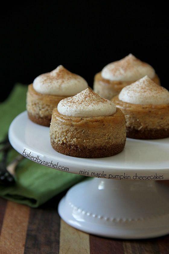 Maple Pumpkin Mini Cheesecakes with Brown Sugar Maple Whipped Cream ...