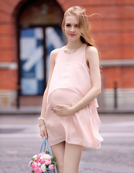The new summer Maternity clothes pure color sleeveless chiffon ...