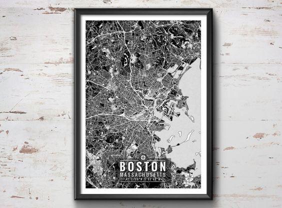 Boston Map with Coordinates Boston Wall Art by IdeateCreateStudio