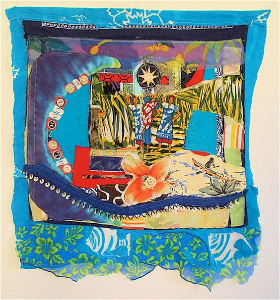 Polynesian Tropical Beach Cottage  Fabric Collage Assemblage   My Bonny