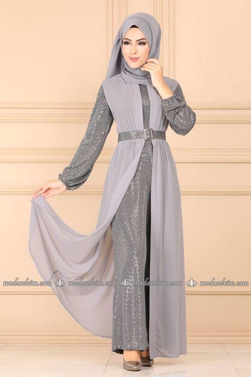 Modaselvim Tulum Sifon Yelekli Abiye Tulum Ah3338 Gumus Musluman Modasi The Dress Moda Stilleri