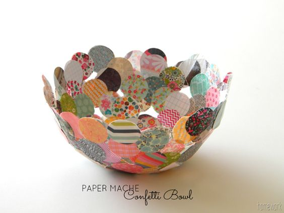 Paper mache confetti bowl sealed with mod podge gloss for Diy paper bowl