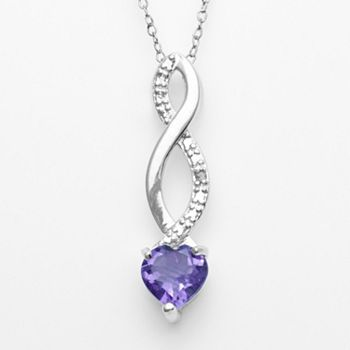 sterling silver amethyst and diamond accent infinity heart