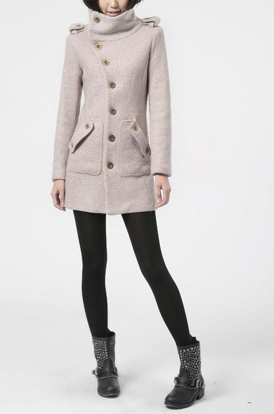 winter coat pink wool coat long sleeves with pockets winter