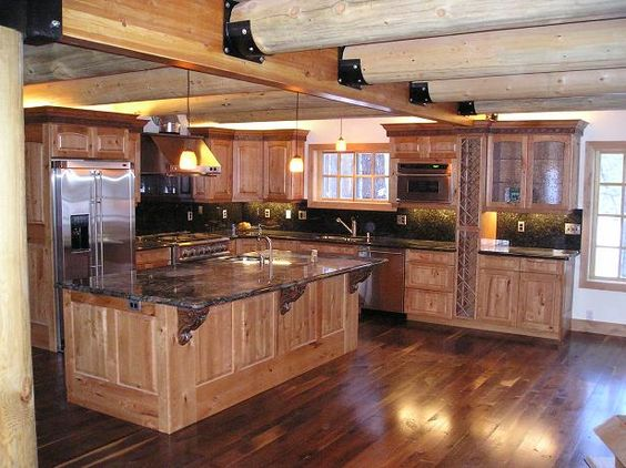 Log home kits log homes and logs on pinterest for Log home kitchens gallery