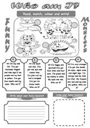 Printables Fun Reading Worksheets english worksheet who am i funny monsters fun reading and writing activity