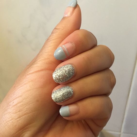 Negative space and glitter gel nails. #naildesign #nailart #gelnail #negativespace #glitternails